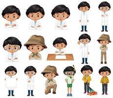 uppsättning pojkar i olika kläder och poser vektor