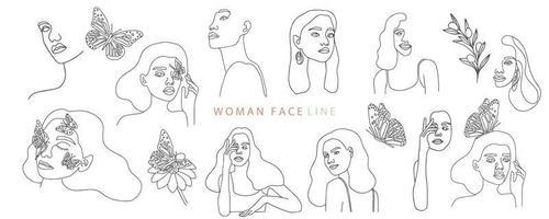 Sammlung von Frauen im feinen Linienstil