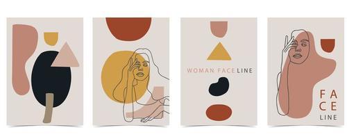 Plakate mit Linienartfrauen und abstrakten Formen