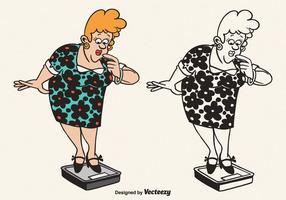 Gratis Vector Cartoon Fat Woman Illustration