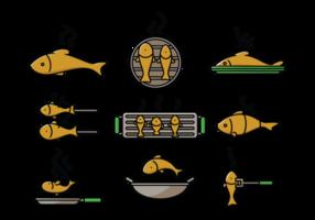 Fish Fry Ikoner Vector