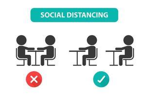 sozial distanzierte Menschen, die an Tischen verteilt sind