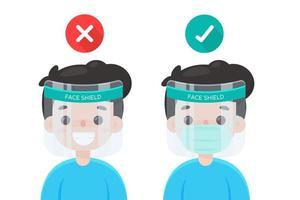 richtige und falsche Art, Gesichtsschutz zu tragen vektor