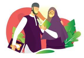 muslimska par som läser vektor