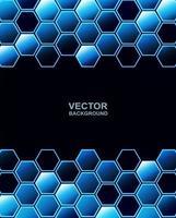 teknik blå och svart hexagon bakgrund vektor