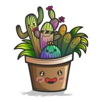 kawaii-stil kaktusväxt med glada ansikten vektor