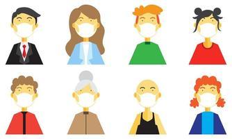 uppsättning av människor som bär medicinsk mask