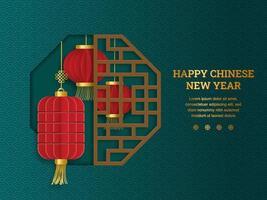Laternen im chinesischen Papierschnitt im Achteckfensterrahmen