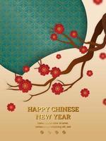 kinesisk blommig gren med guld- och grönmåne-månen