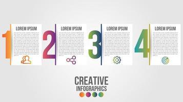 moderne Infografik-Zeitleiste mit 4 großen Verlaufszahlen