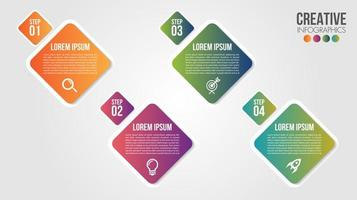moderne Infografik mit 4 Farbverlaufsdiamanten vektor