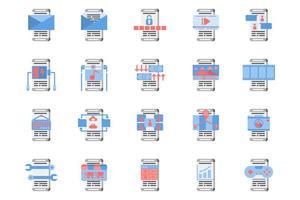 flache Icon-Set der Smartphone-Anwendung vektor