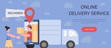 online-leverans av paket i enkel tecknad stil vektor