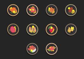 Fisch Fry Food Icon Set vektor