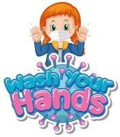 tjej som håller upp händerna med '' tvätta händerna '' text