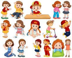 barn som spelar upp olika roller vektor