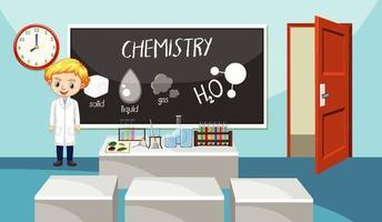 Klassenzimmer mit Naturwissenschaftslehrer