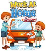 arbeta hemma lockdown med far och son tvätta bilen