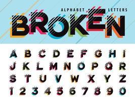 Glitch Alphabet Buchstaben und Zahlen vektor