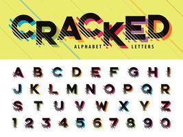 rissige Buchstaben und Zahlen vektor