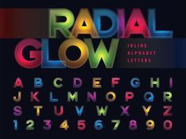 Buchstaben und Zahlen des radialen Glühalphabets vektor
