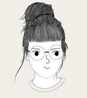handritad tjej med glasögon och bulle frisyr vektor