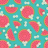 retro vattenmelonskiva och sömlös blommönster