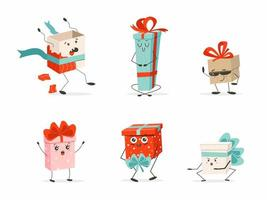 Satz Cartoon-Geschenkboxen