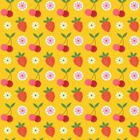 nahtloses Muster der Retro-Kirsche und der Erdbeere