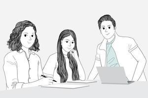 Freunde, die am Tisch auf Laptop und Papier arbeiten