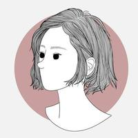 Modeillustration der Frisur