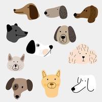 Illustrationssatz von Hunden in verschiedenen Stilen