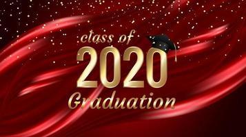 klass 2020-examen guldtextdesign på rött vektor