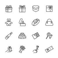 uppsättning present presenter ikonuppsättning vektor