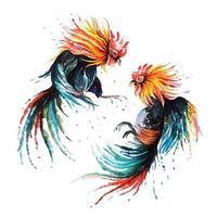Kampfhahn mit Aquarell gemalt