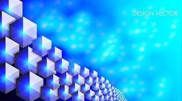 abstrakt bakgrund av hexagonformer och blå ljus bokeh vektor