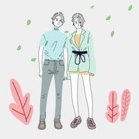 Paare in moderner Mode gekleidet