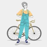 kvinna som står med cykel vektor