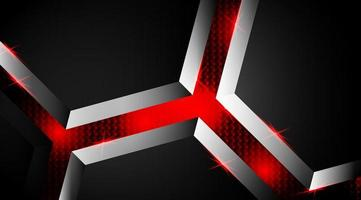 svart och röd lysande form 3d bakgrund vektor