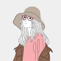 kvinna som bär en stor hatt vektor