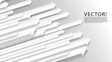 Überlappende 3D-Pfeile auf grauem Hintergrund vektor