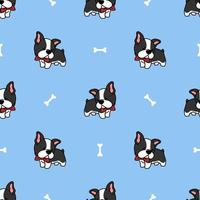 söta boston terrier valp tecknade seamless mönster