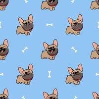 niedliche braune französische Bulldogge Cartoon nahtloses Muster vektor