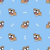 söt bulldogg tecknade seamless mönster