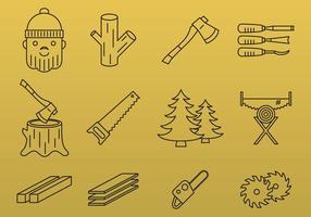 Lumberjack line icons vektor