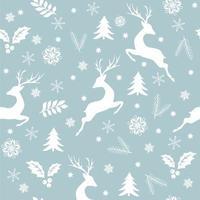 nahtloser Weihnachtshintergrund mit Hirsch, Schneeflocken und Dekorationen.