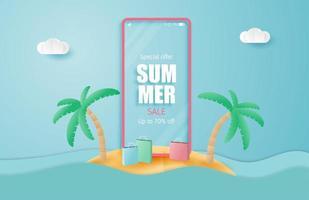 sommar försäljning banner med smartphone