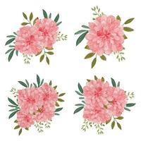 akvarell dahlia blombukett samling