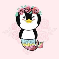 pingvin sjöjungfru tecknad vektor