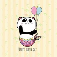 panda håller ballong, hbd-kort pastellfärg.